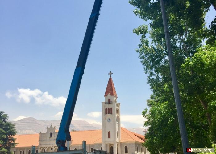 outdoor loudspeakers crane install